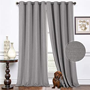 North Hills Premium Soft Curtains with Cashmere Feel, Herringbone Textured Room Darkening Grommet Window Curtains Drapes for Bedroom 52