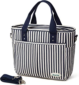 Insulated Lunch Bag, SCORLIA Large Lunch Tote Bag With Removable Shoulder Strap, Durable Reusable Cooler lunch Box with Side pockets, Tall Drinks Holder for Adults Women Men, Stripe