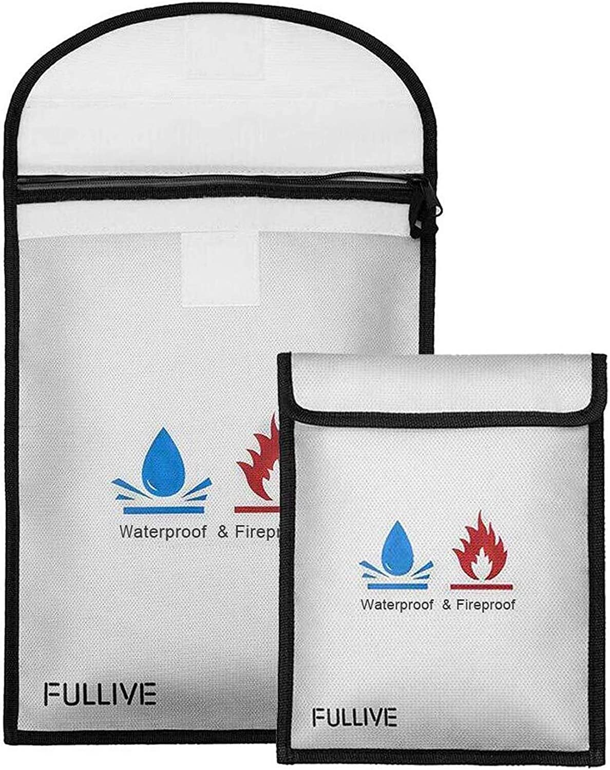 Fireproof Water Resistant Money Bag Envelope Safety Document Bag File Pouch Case
