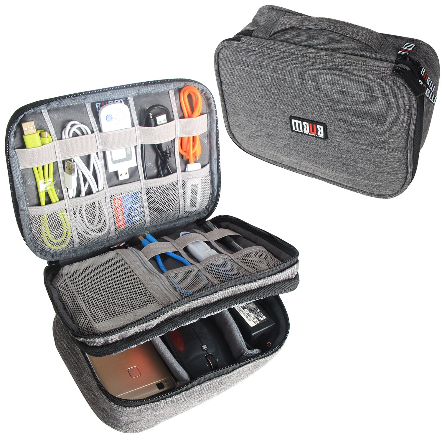 BUBM Electronic Organizer, Double Layer Travel Gadget Storage Bag for Cables, Cord, USB Flash Drive, Power Bank and More-a Sleeve Pouch for 7.9'' iPad Mini (Medium,Denim Gray)