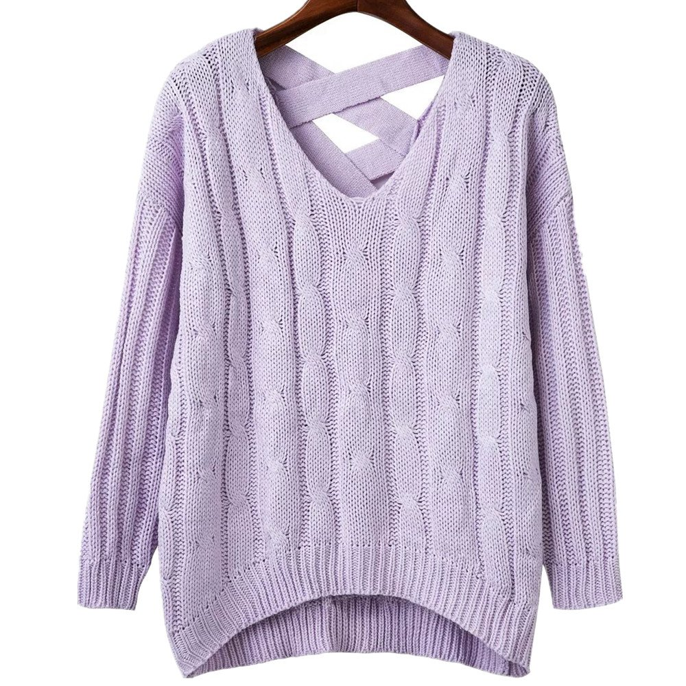 Huiyuzhi Womens Criss Cross Backless Knitted Loose Sweater (One ...