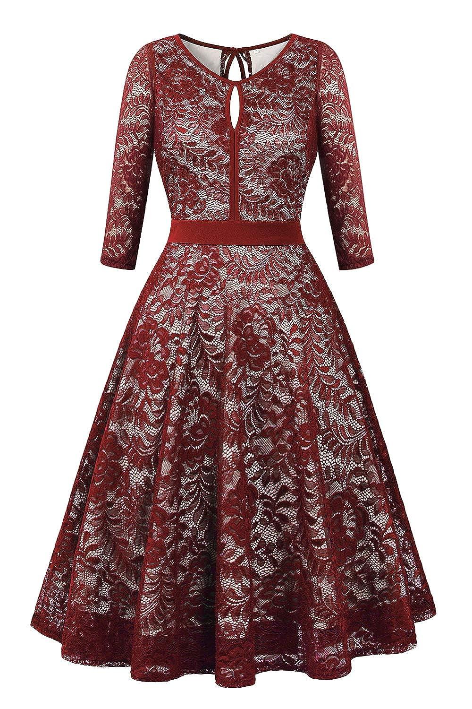 (3 4 Sleeve) Wine Red BBX Lephsnt Womens Summer Dresses Sleeveless Pockets Casual Round Neck Swing TShirt Dress