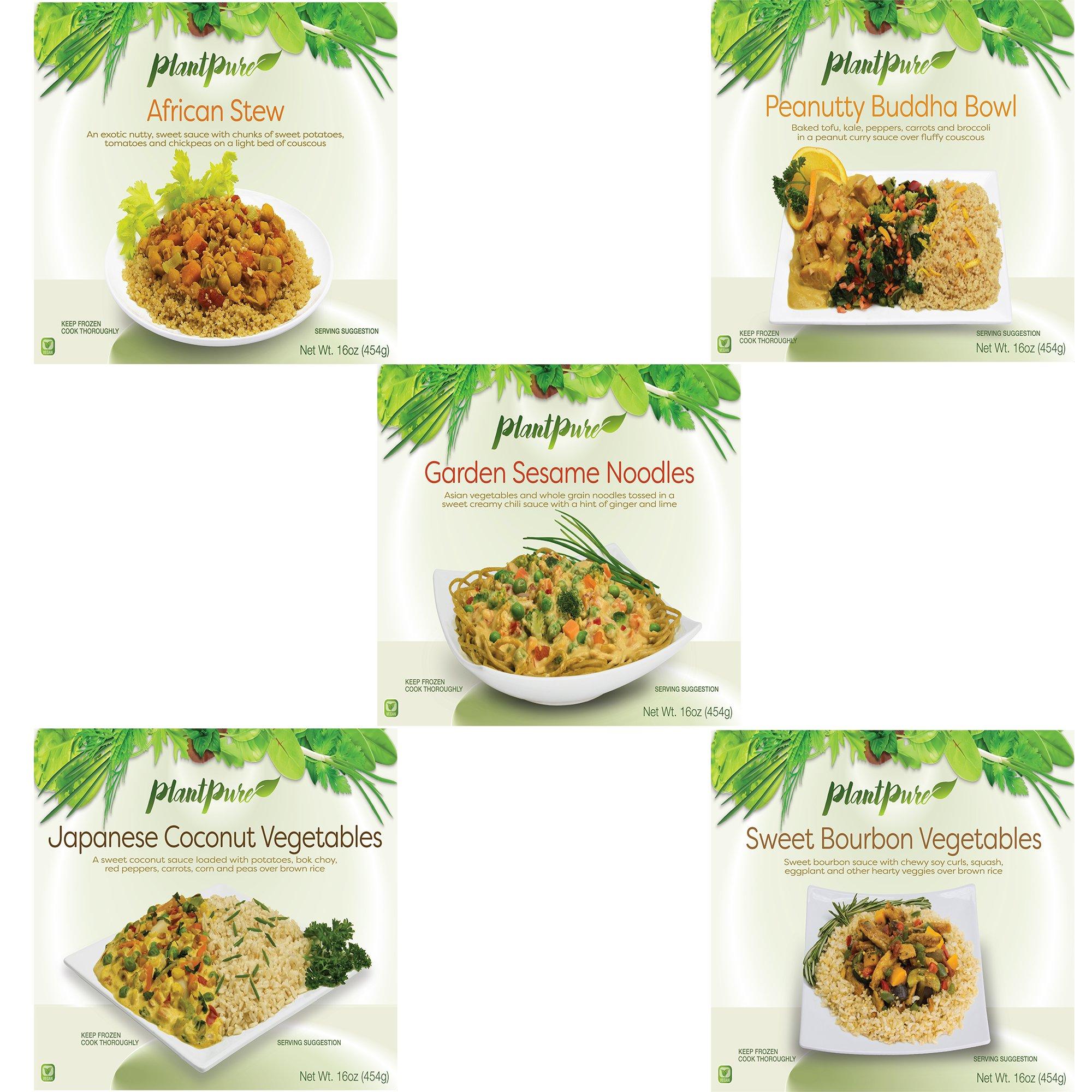 PlantPure 5 Pack Vegan Plant Based Frozen Entrees, 16 oz