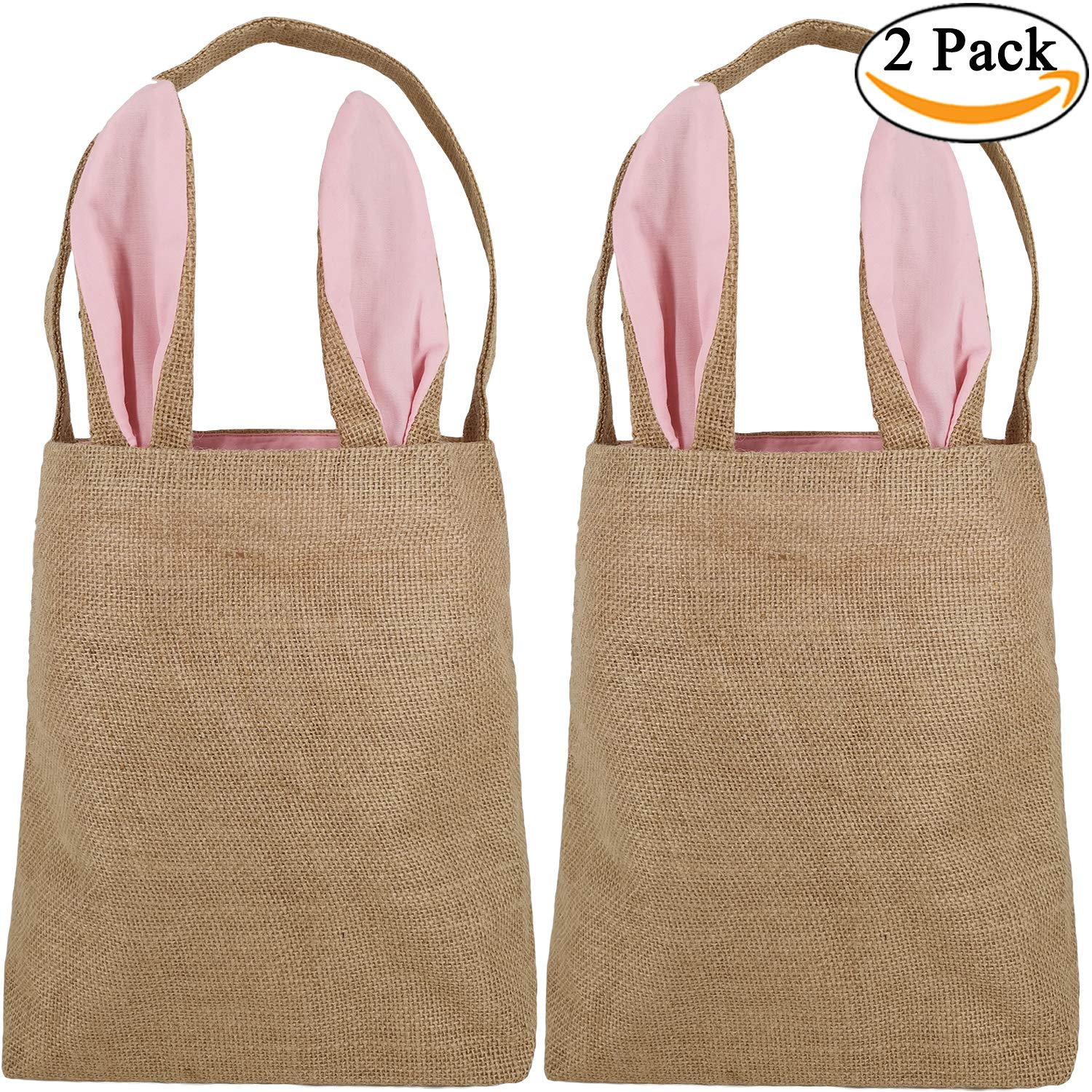 Pink Easter Bunny Basket Egg Baskets for Kids with Cross-Stitch Line Burlap Gift Bag Round Tote Jute Bags for Embroidery DIY Daily Use Y048B
