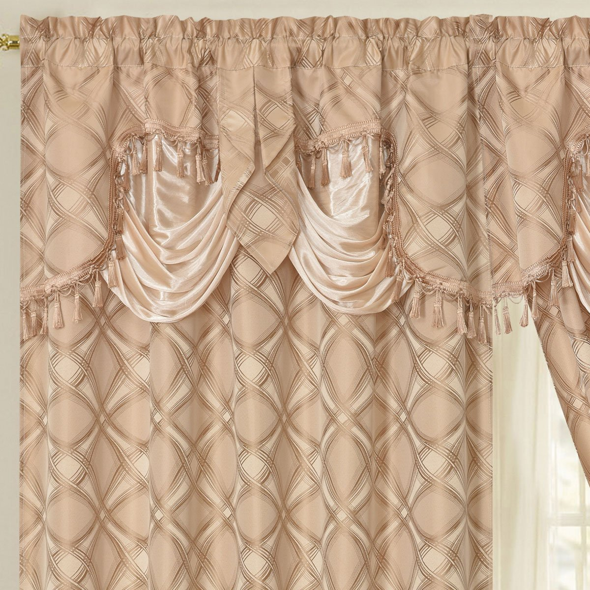 DANCE WITH WIND. Jacquard window curtain panel drape with attached fancy valance. 2pcs set. Each pc 54'' wide x 84'' drop with 18'' valance. (COFFEE)
