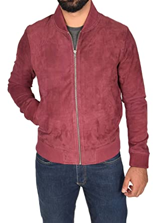 eee3546ba6 Mens Genuine Soft Goat Suede Bomber Jacket Burgundy Slim Fit Sports Varsity  Baseball Coat - Blur  Amazon.co.uk  Clothing