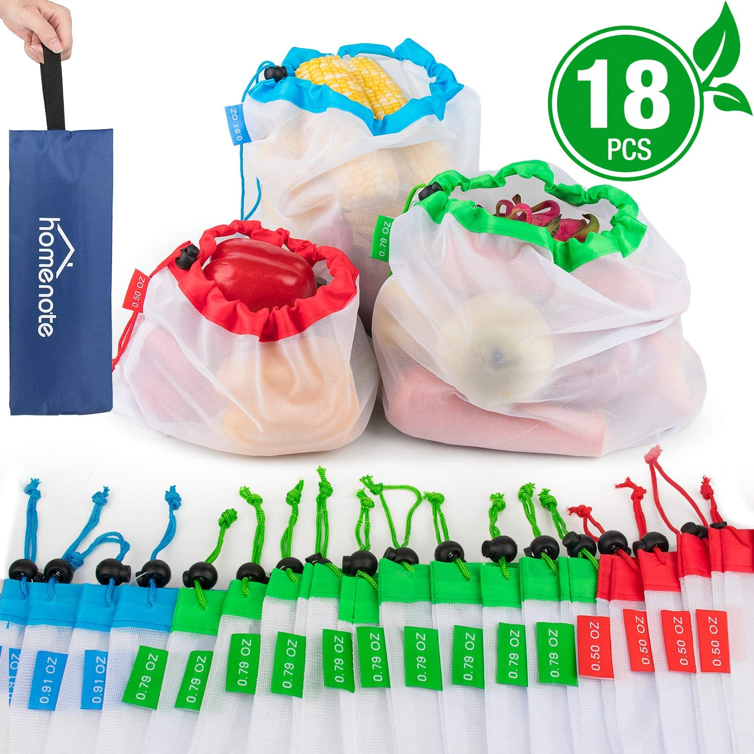 Eco-Friendly Mesh Grocery Bags with Colorful Tare Weight Tags HOMENOTE Reusable Produce Bags 12Pcs Lightweight and Washable