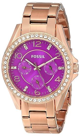 Fossil ES3531 - Reloj con correa de resina para mujer, color morado/gris