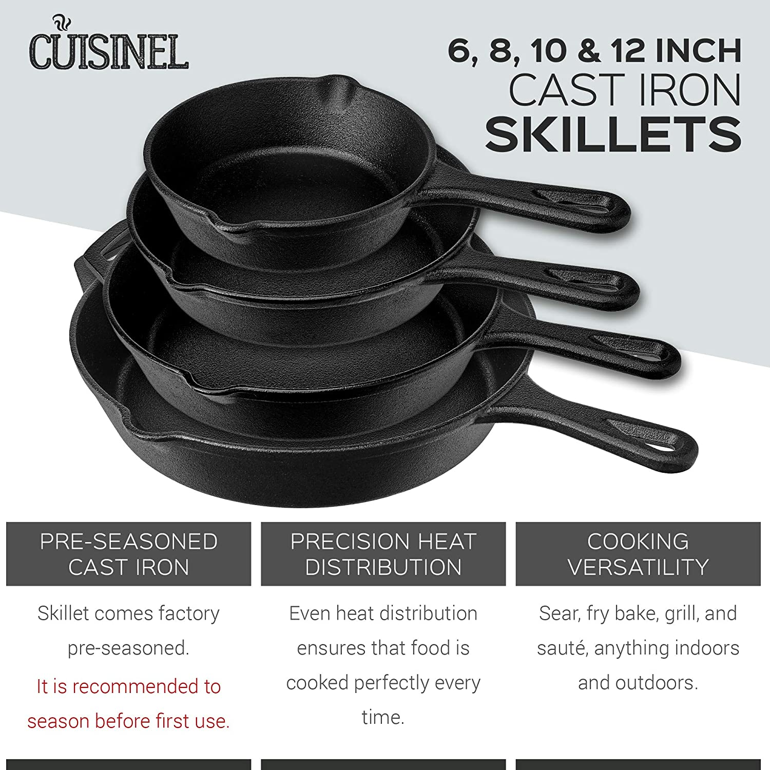 Pre-Seasoned Cast Iron Skillet 4-Piece Complete Chef Set 6-Inch 8-Inch 10-Inch 12-Inch Oven Safe Cookware – 4 Heat-Resistant Holders – Indoor and Outdoor Use – Grill, Stovetop, Induction Safe