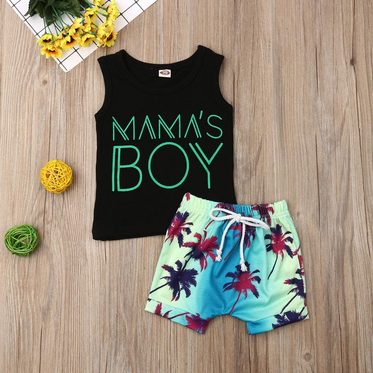 Newborn Baby Toddler Boy Shorts Outfits Mamas Boy Sleeveless Tee Top+Coconut Leaf Print Short 2Pcs Summer Clothes Sets