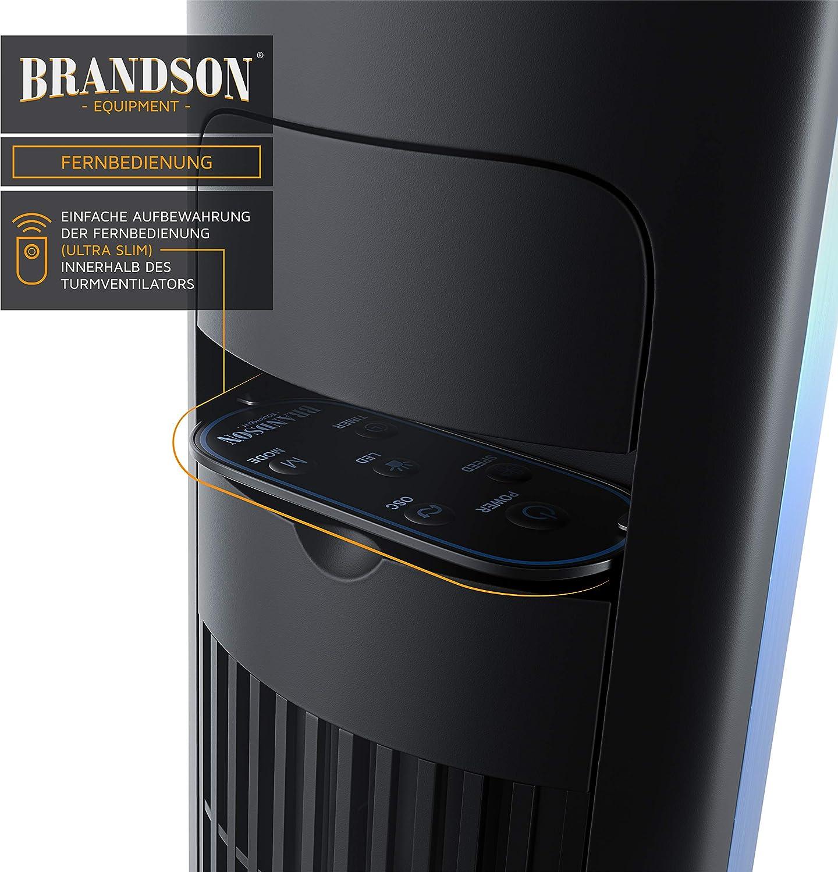 Turmventilator mit Fernbedienung 108 cm Ventilator 10 Grad neigbar 3 Geschwindigkeiten 4 L/üftungs-Modi Standventilator mit Oszilation Brandson Royal Blue neues Modell 2020 GS