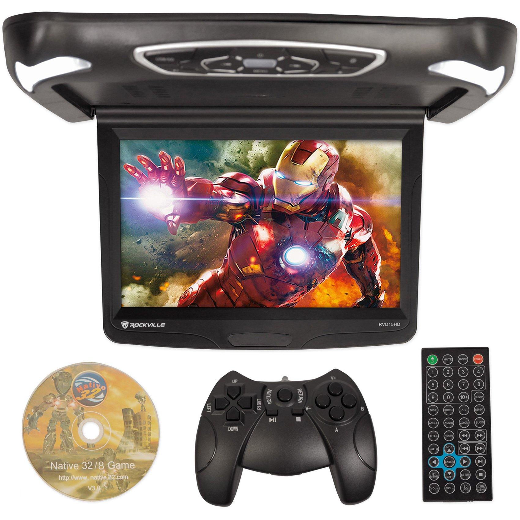Rockville RVD15BGB Black/Grey/Tan 15'' Flip Down Car Monitor w DVD/HDMI/Games/USB by Rockville