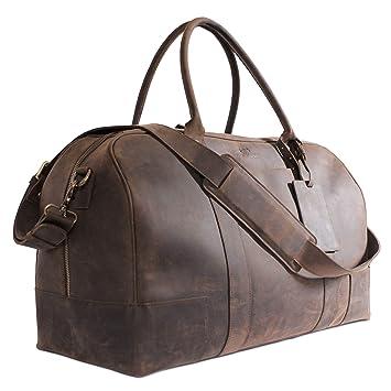 45dcf5782 Amazon.com   Bucksaw Travel Leather Duffel Bag For Men - Full Grain Premium Leather  Weekender - Brown   Travel Duffels