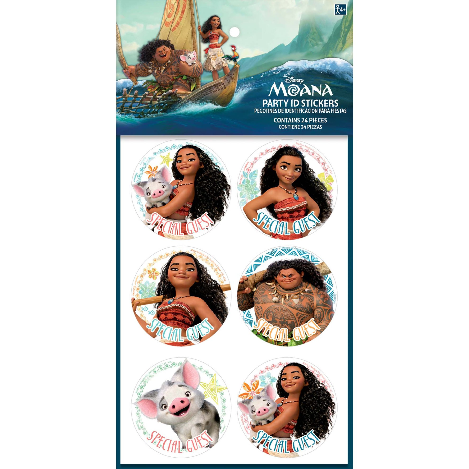 Party ID Stickers | Disney Moana Collection | Party Accessory