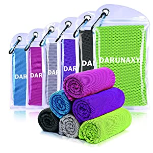 "DARUNAXY 4pack Evaporative Cooling Towels 40""x12"",Snap Cooling Towels for Sports, Workout, Fitness, Gym, Yoga, Pilates, Travel, Camping and More"