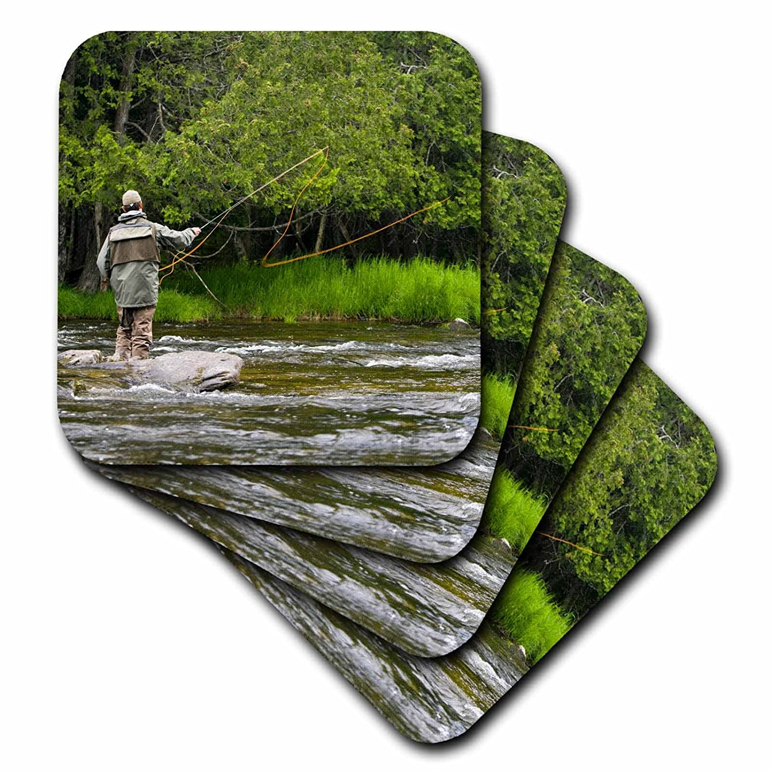 US30 JMO1434 NH Set of 4 Connecticut River Ceramic Tile Coasters 3dRose cst/_92407/_3 Fly-fishing Jerry and Marcy Monkman