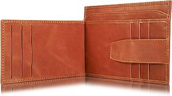 0dc00b307ccc0 KAVAJ Leder Geldbörse Portemonnaie Munich mit Münzfach RFID Schutz Cognac-Braun  Kleiner dünner Geldbeutel Brieftasche
