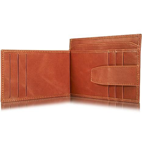 4152fe83e128c KAVAJ Leder Geldbörse Portemonnaie Munich mit Münzfach RFID Schutz  Cognac-Braun Kleiner dünner Geldbeutel Brieftasche