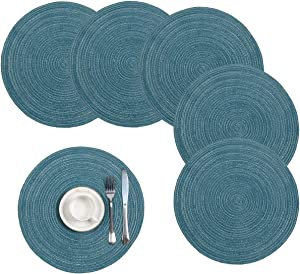 Pauwer Cotton Braided Round Placemats for Kitchen Dining Table Woven Round Table Place mats Washable,(Set of 4)