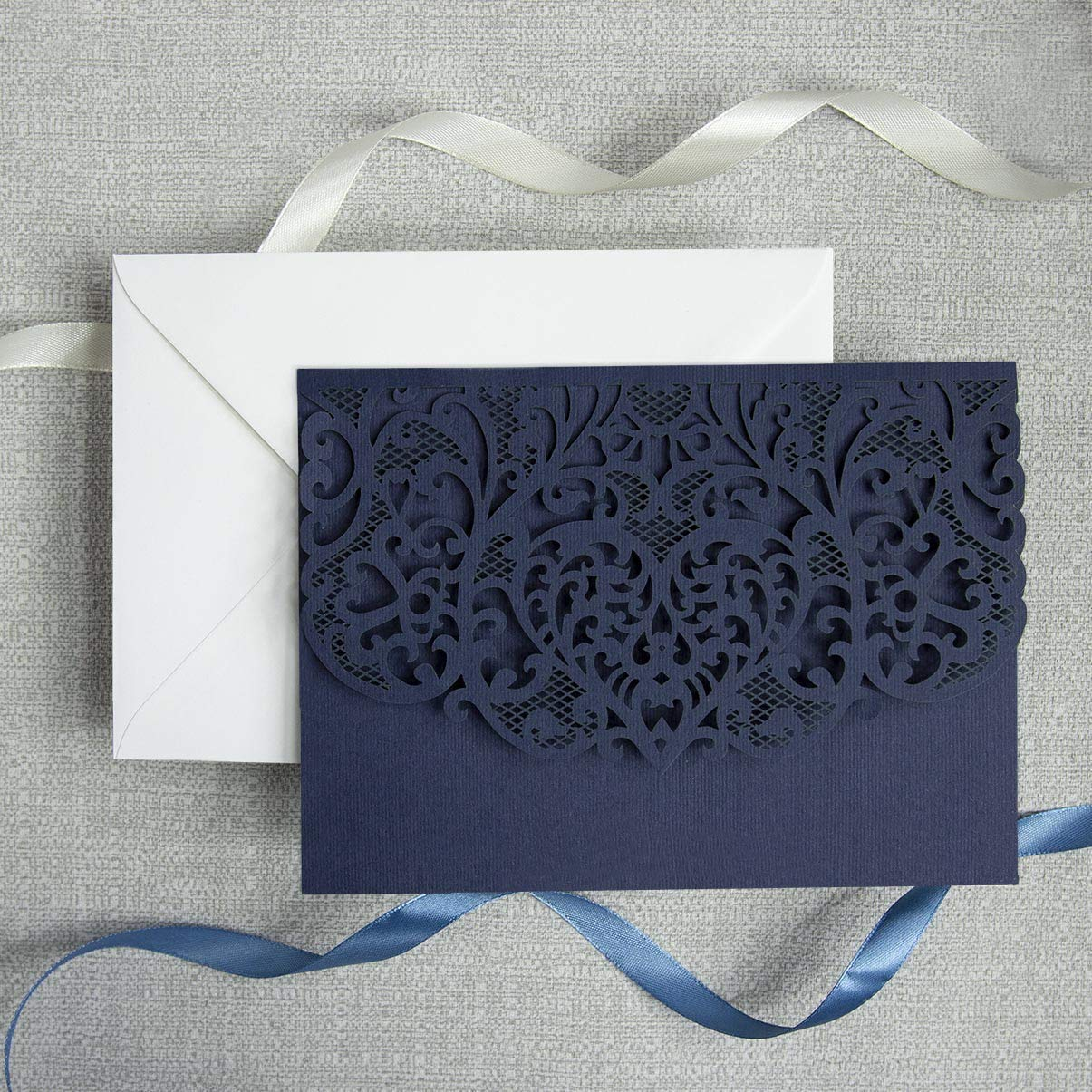 Amazon.com: 50 Cards DIY Set Laser Cut Navy Blue Wedding Invitations with Envelopes  Trifold Pocket with 4 Inserts printable template invitation cards kit:  Handmade