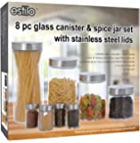 Estilo 8 Piece Glass Canisters And Spice Jar Set with Stainless Steel Screw On Lids, Clear