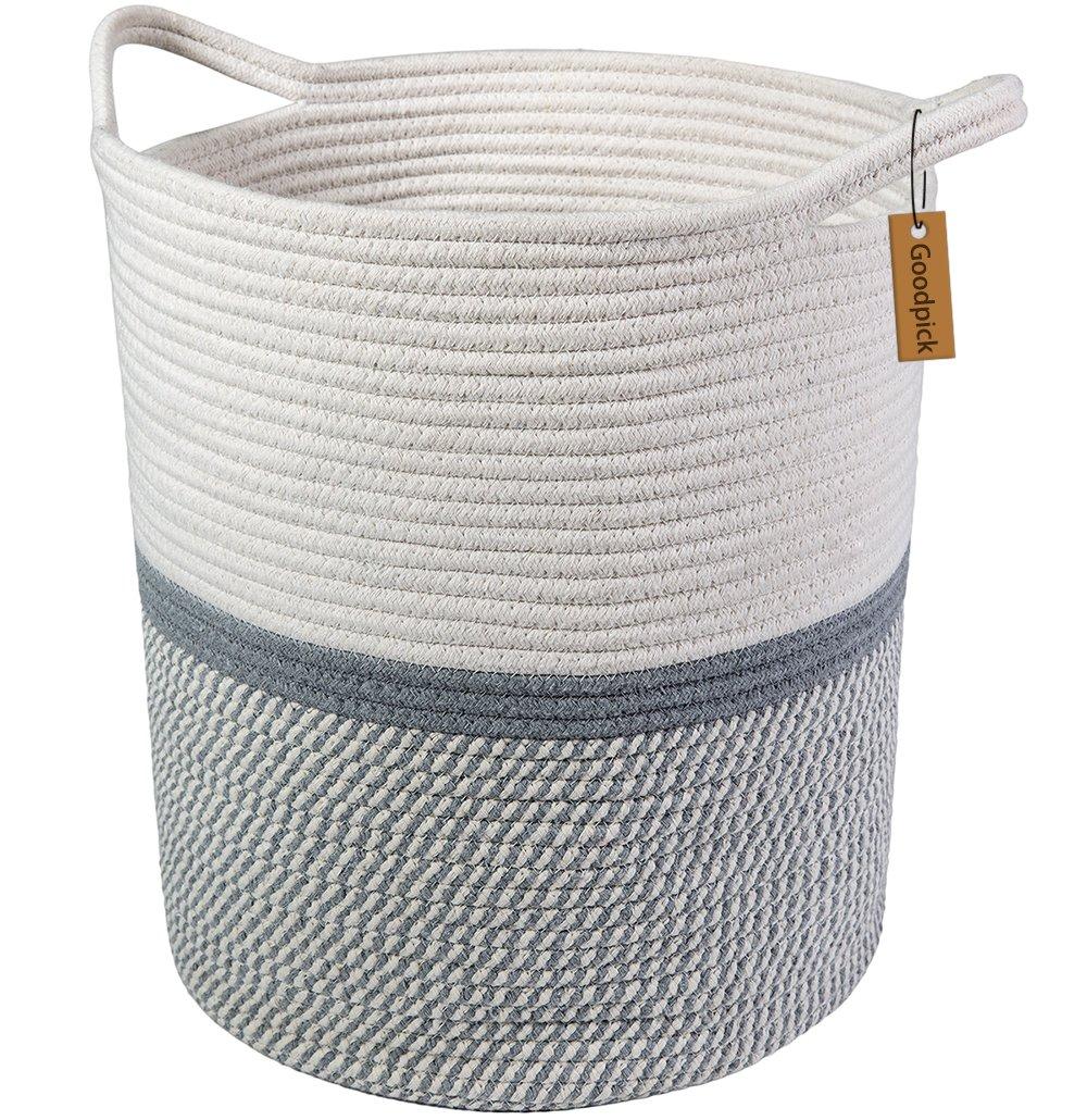 Goodpick Large Cotton Rope Basket 14.2'' x 13.4'' x 16.2'' -Baby Laundry Basket Tall Woven Basket Blanket Nursery Bin rack08-earGoodpick