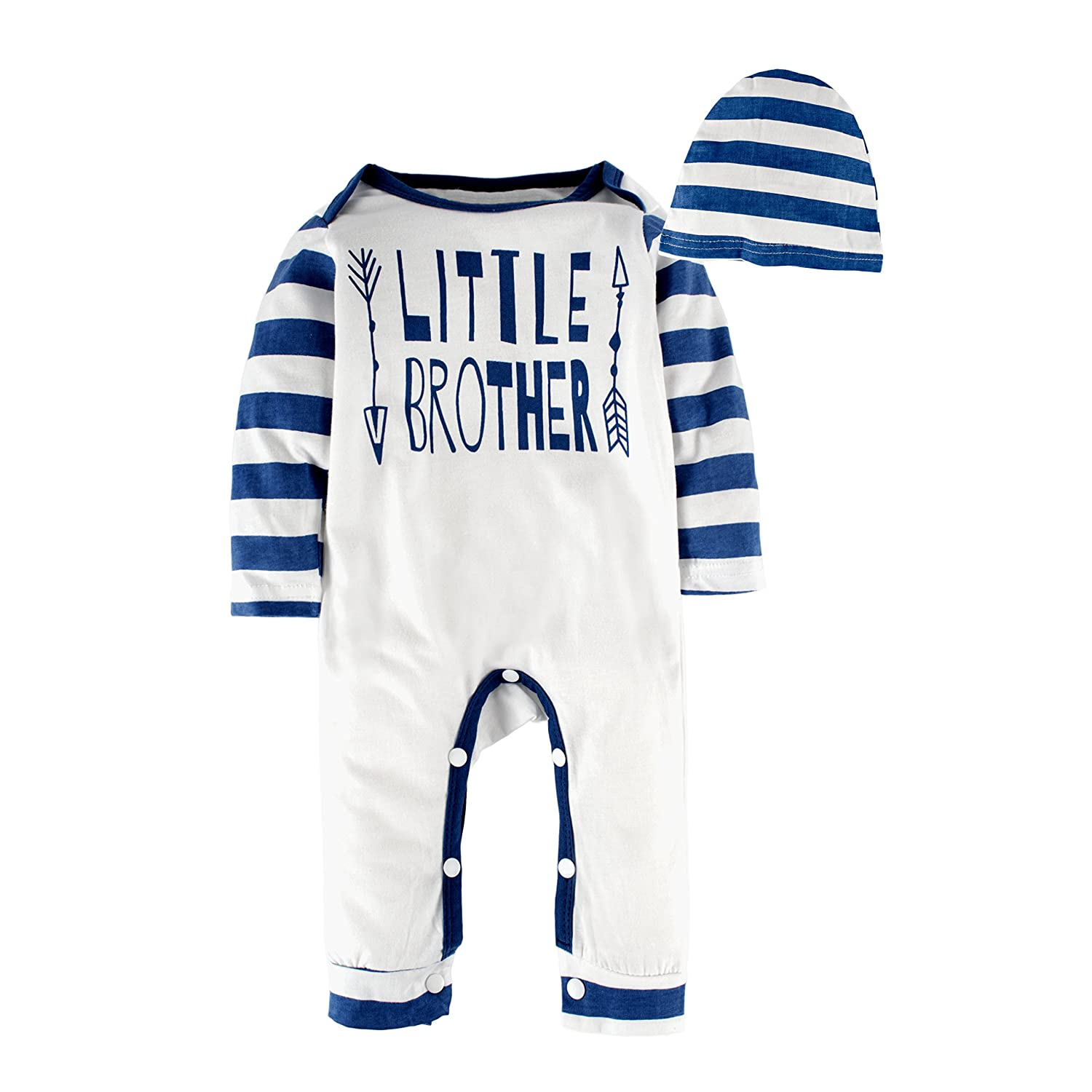 BIG ELEPHANT Baby Boys 2 Pieces Long Sleeve Romper Pajama with Hat O27,White and Blue,0-3 Months