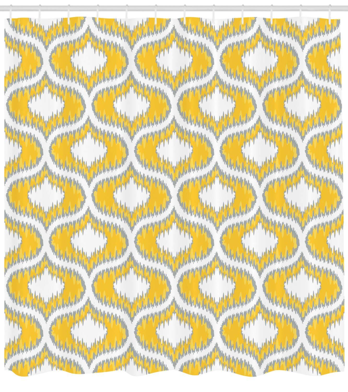 Amazon Lunarable Mustard Shower Curtain Eastern Ikat Style
