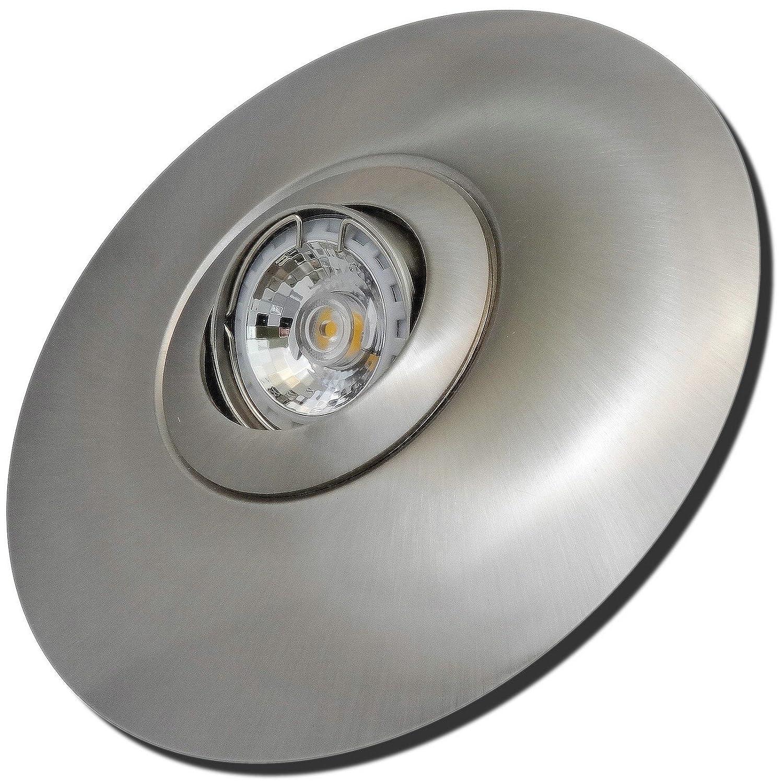 3 Stück MCOB LED Einbaustrahler Big Fabian 12 Volt 5 Watt Schwenkbar Edelstahl geb. / Warmweiß
