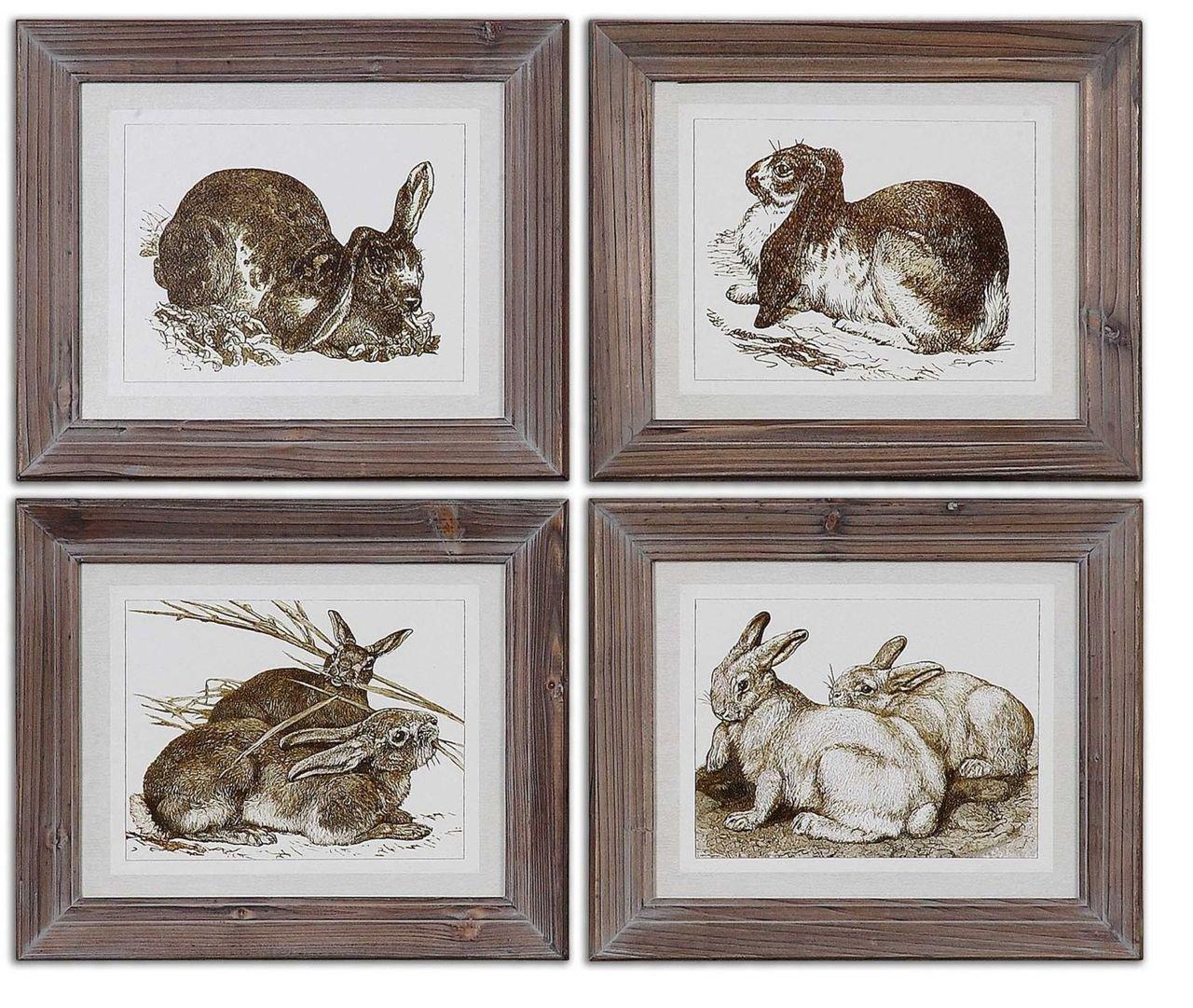Sepia Rabbit Prints Wall Art   Vintage Style Gray Brown Bunny Artwork:  Amazon.co.uk: Kitchen & Home