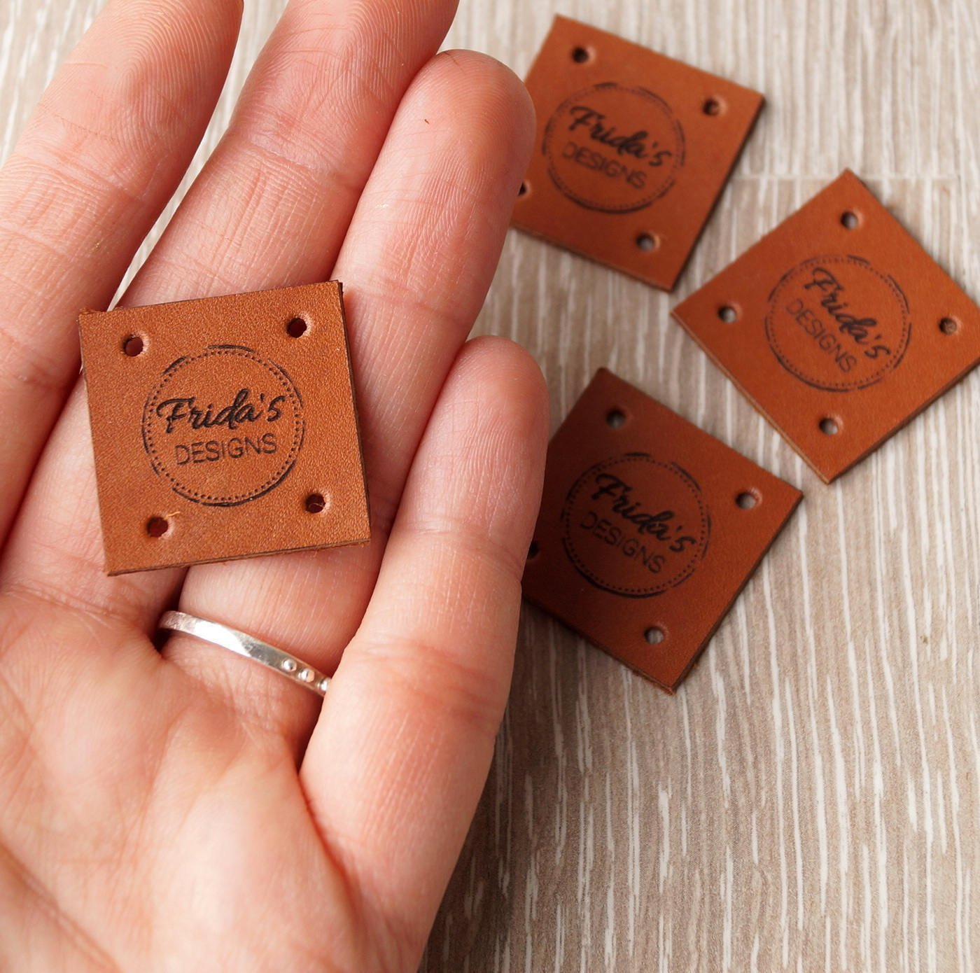 Leather knitting labels Handmade custom label tags care labels custom clothing labels set of 25 personalized leather labels