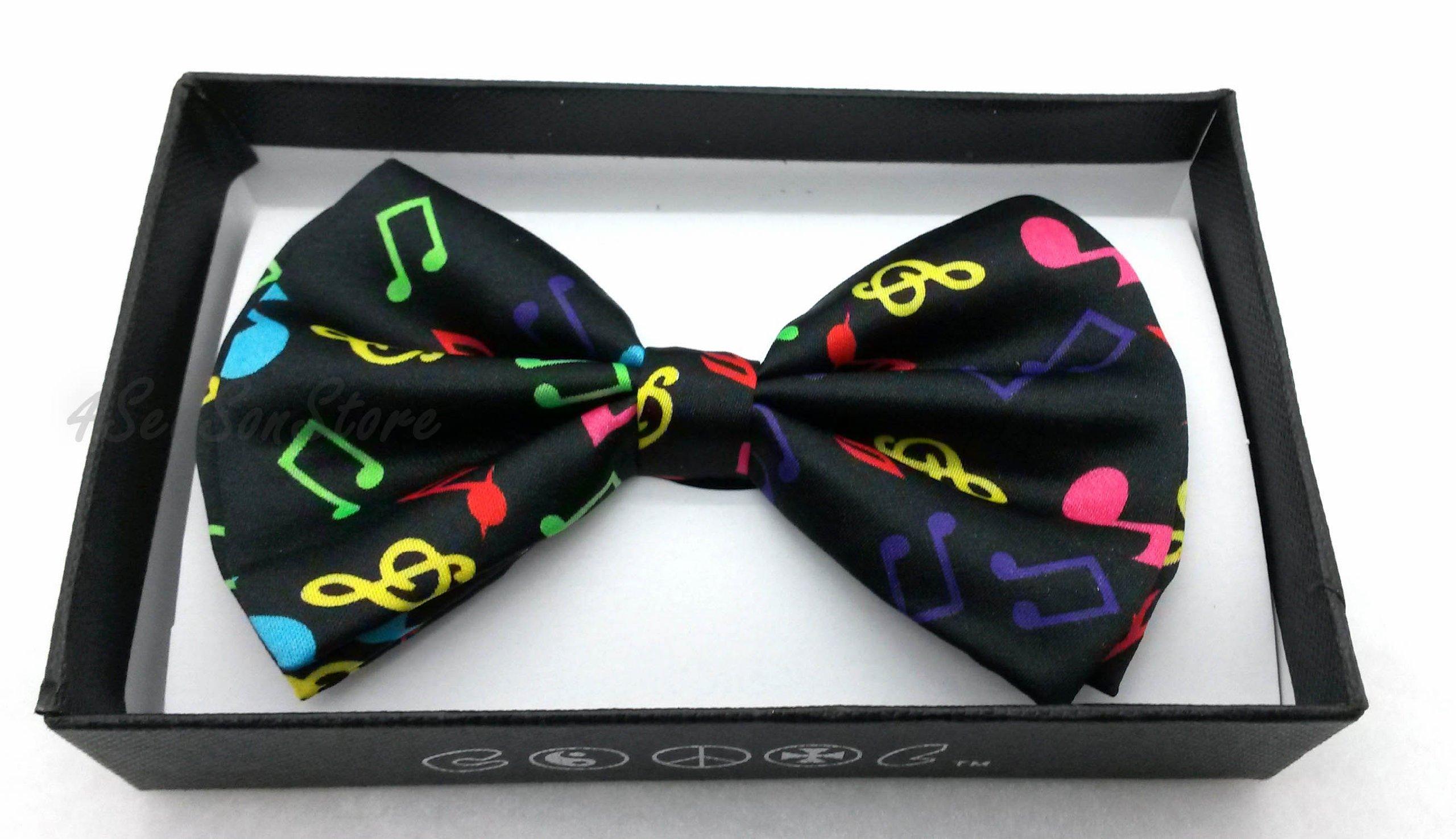 Color Tuxedo Classic Bow Tie, Cravat, Necktie, Neckwear Adjustable Men's Fashion Bowtie - Rainbow Music Notes