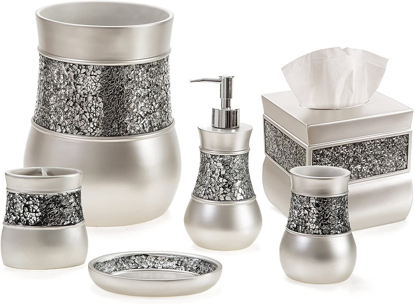 Amazon Com Creative Scents Bathroom Accessory Set Decorative 6 Piece Bathroom Set Features Soap Dispenser Toothbrush Holder Tumbler Soap Dish Tissue Box Cover Trash Can Silver Colored Home Kitchen