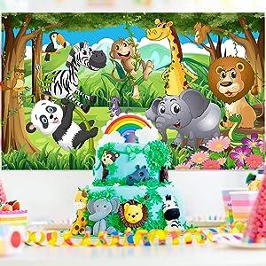 Blulu Safari Animals Decorations, Extra Large Fabric Jungle Safari Backdrop Banner for Jungle Theme Party Supplies, Jungle Safari Animals Backdrop Photography Background -72.8 x 43.3 inch