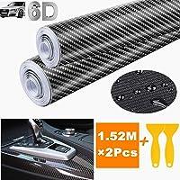 STARPIA 2Pcs 6D Vinilo Fibra de Carbono, Película