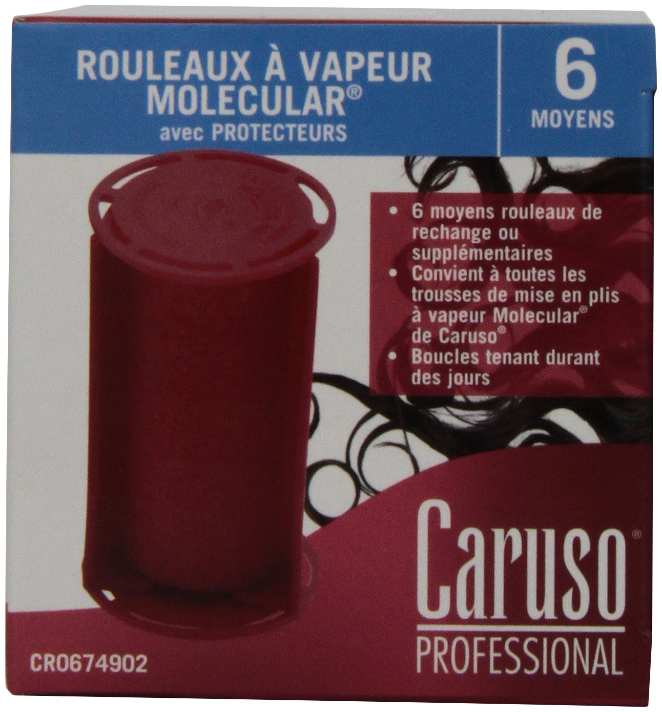Caruso Professional Molecular Steam Rollers with Shields, Medium (6-Pack) by Caruso (Image #2)