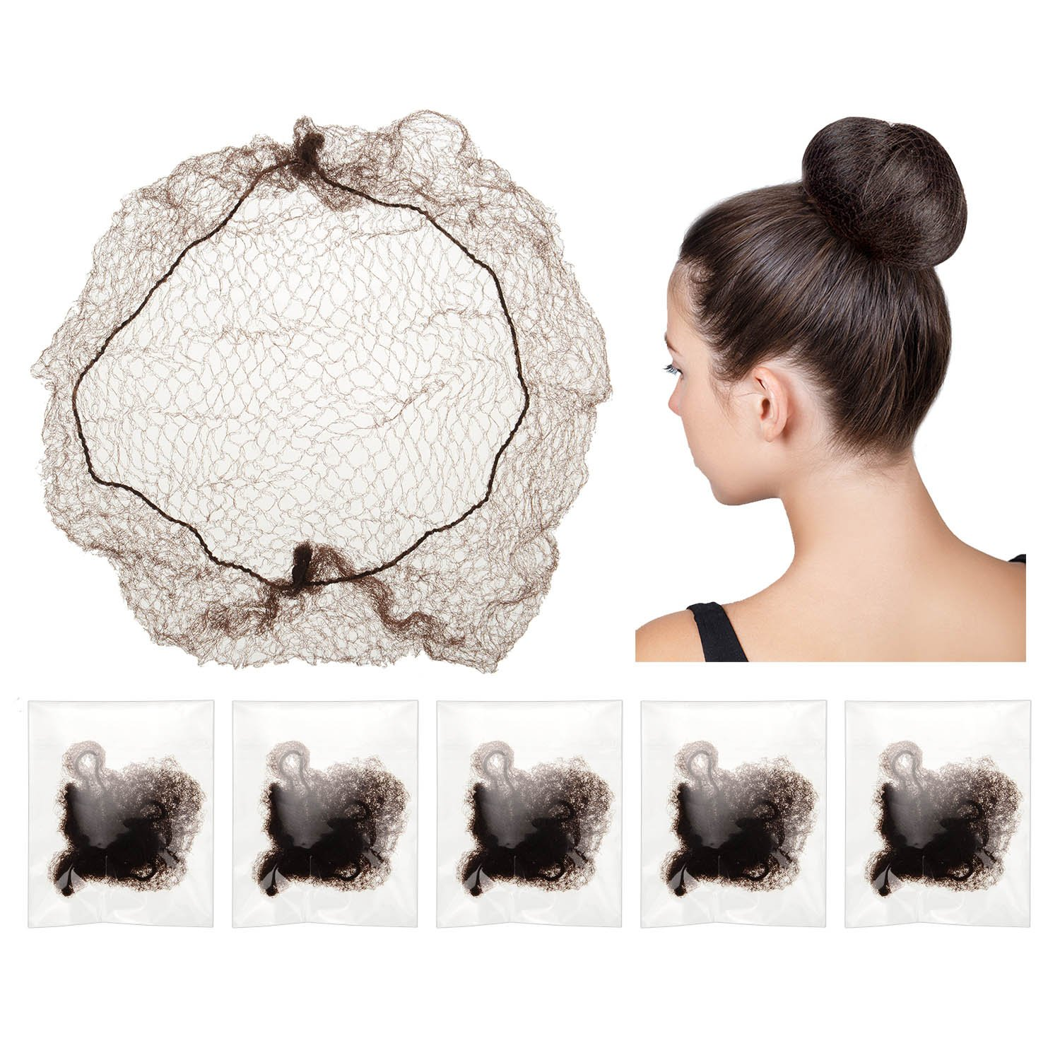 30 Pieces Invisible Hair Nets Elastic Edge Mesh for Wig and Hair Fixing Women's Bun Making, Coffee BBTO