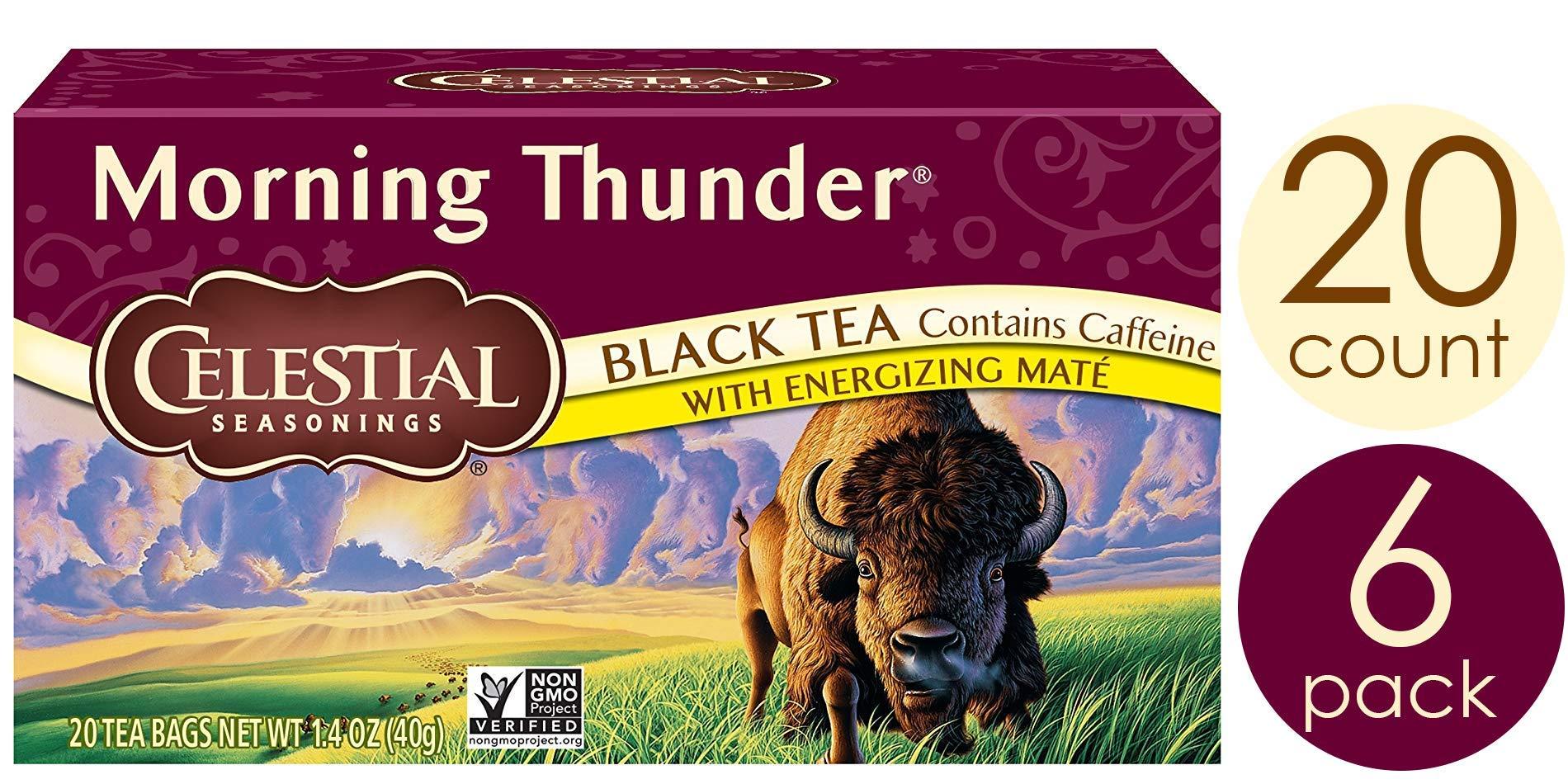 Celestial Seasonings Black Tea, Morning Thunder with Maté, 20 Count (Pack of 6) by Celestial Seasonings