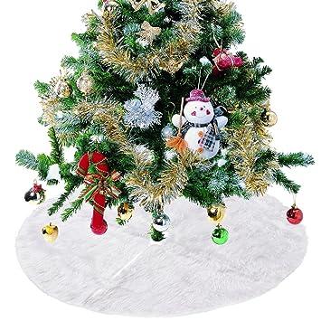 Amazon.com: Christmas Tree Skirt White Plush Holiday Tree ...