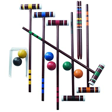 Franklin Sports Croquet Set - Includes Croquet Wood Mallets, All Weather Balls, Wood Stakes and Metal Wickets - Classic Family Outdoor Game