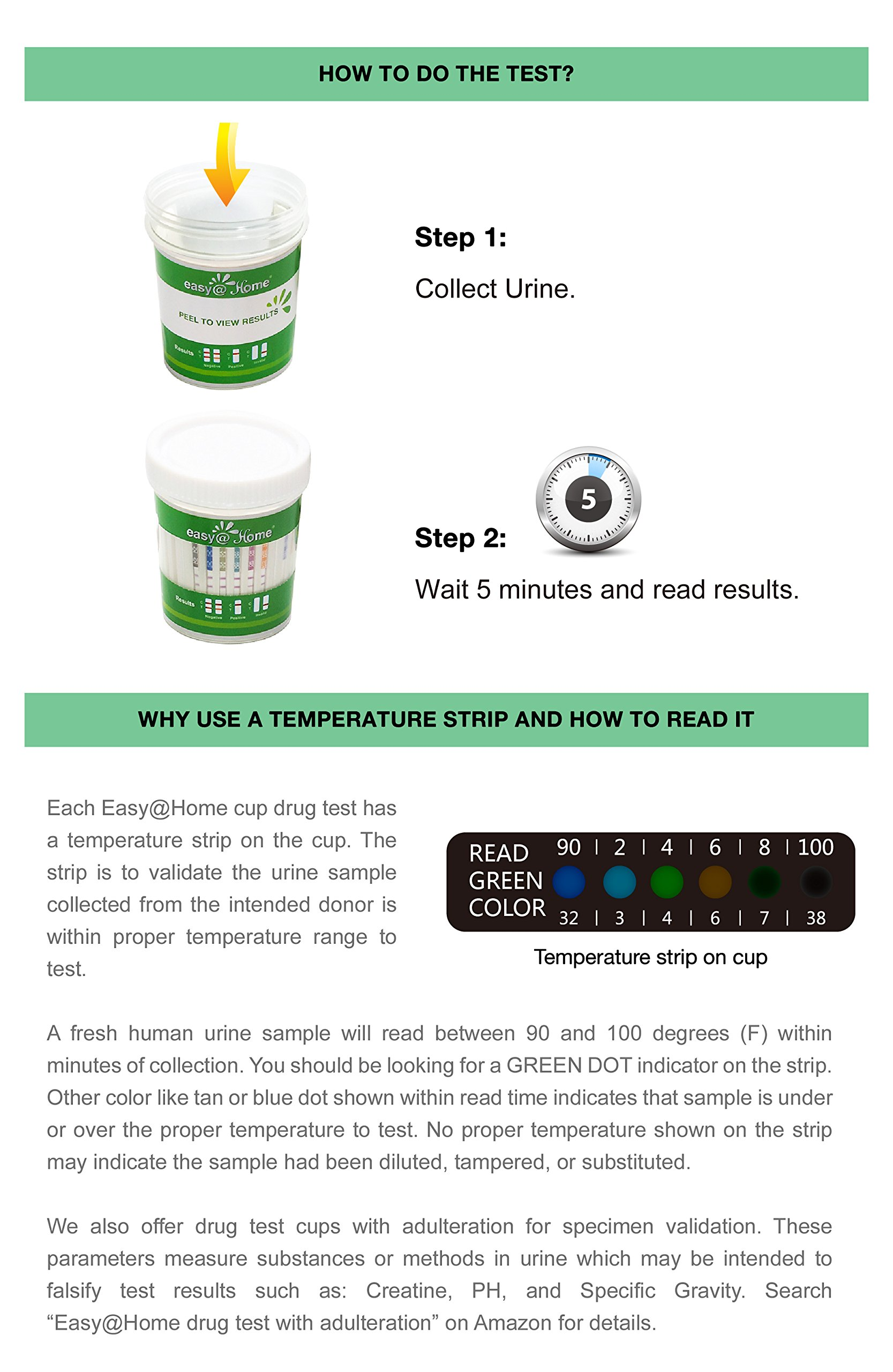 5 Pack Easy@Home 12 Panel Drug Test Cup Kit with Temperature Strip-Testing OPI2000, THC, COC, MET/mAMP, OXY, AMP, BAR, BZO, MTD, MDMA, PCP, TCA- Instant Urine Test-#ECDOA-7124 by Easy@Home (Image #2)