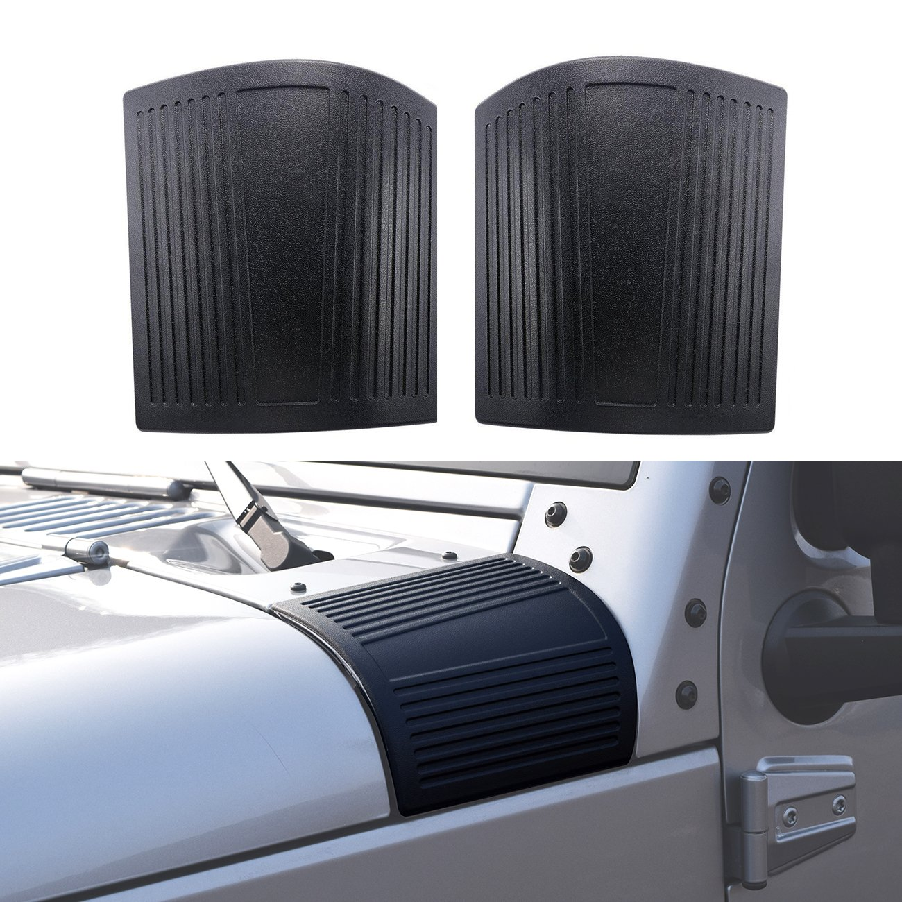 IParts Black Cowl Body Armor for Jeep Wrangler JK JKU Unlimited Rubicon Sahara X Off Road Sport Exterior Accessories Parts 2007 2008 2009 2010 2011 2012 2013 2014 2015 2016 2017 PartsSupplier