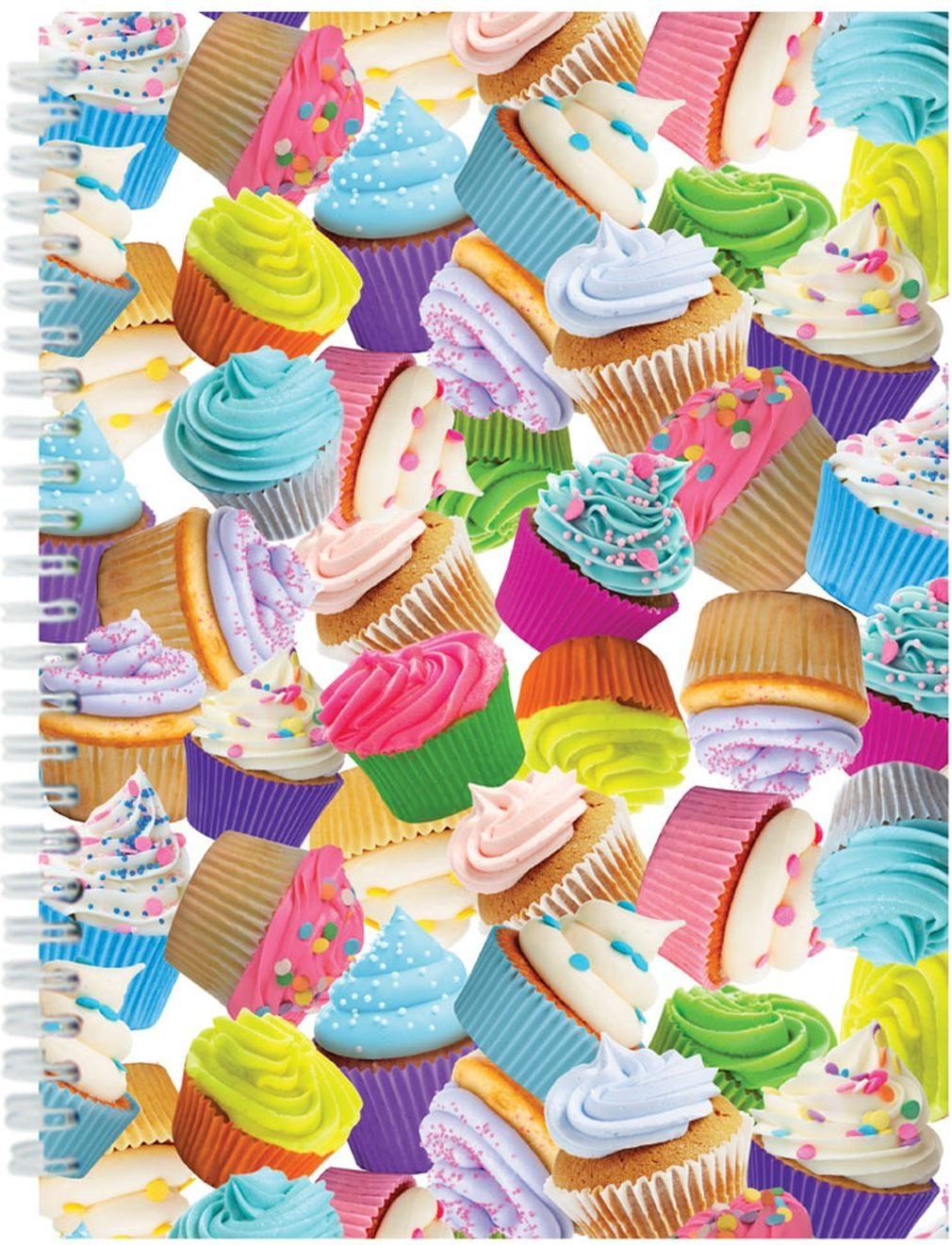 iscream 'Colorful Cupcakes' 3D Cover Spiral-Bound Lined Page 8.5'' Journal