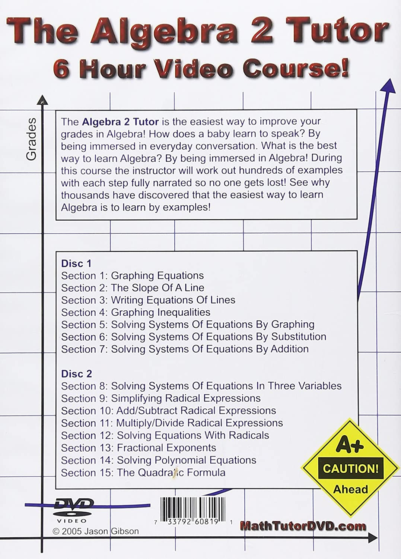 Amazon.com: The Algebra 2 Tutor - 6 Hour Course - 2 DVD Set - Learn ...