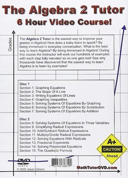Amazon.com: The Algebra 2 Tutor - 6 Hour Course - 2 DVD Set ...