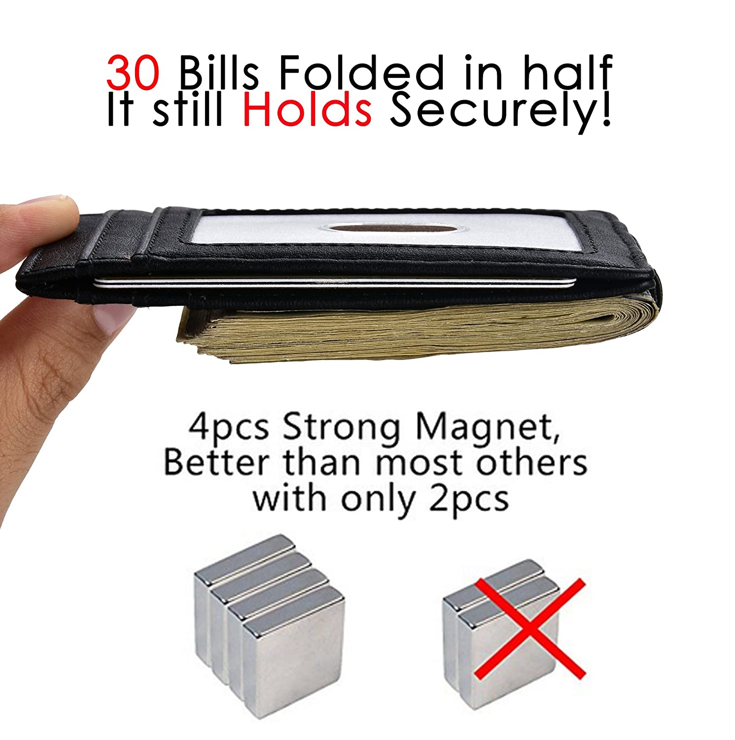 Canyon Red Money Clip Front Pocket Wallet Leather RFID Blocking Strong Magnet thin Wallet