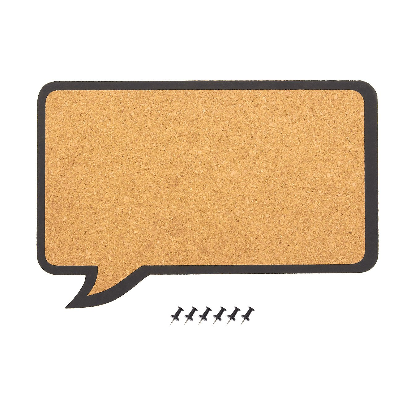 Cork Bulletin Board - Decorative Speech Bubble Natural Cork Board - Includes 6 Push Pins - Perfect for Pinning Memos and Reminders, 17.5 x 11.5 x 0.3 inches Juvale