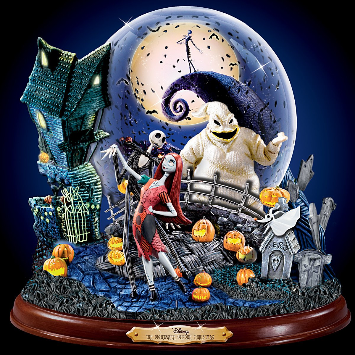 Disney Tim Burton's The Nightmare Before Christmas Illuminated Musical Snowglobe by The Bradford Exchange by Bradford Exchange (Image #5)