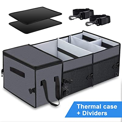 Car Trunk Organizer with Insulation Cooler Bag : Washable-Large Capacity Foldable Multi-Compartments Cargo Storage for SUV, Truck, Minivan & Auto,Vehicle Tools Grocery Organize Box, Grey: Home Improvement