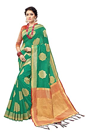 df68a6656 Amazon.com  Designer Sarees Woven Work Banarasi Silk Saree for women With  Unstitched Blouse Piece (Green 2)  Clothing